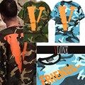 Camuflaje Militar Del Ejército de Vlone Amigos T-shirt Hombres Mujeres Versión 1:1 algodón Del O-cuello de Hip Hop Camo de Manga Corta Grande V Vlone camiseta