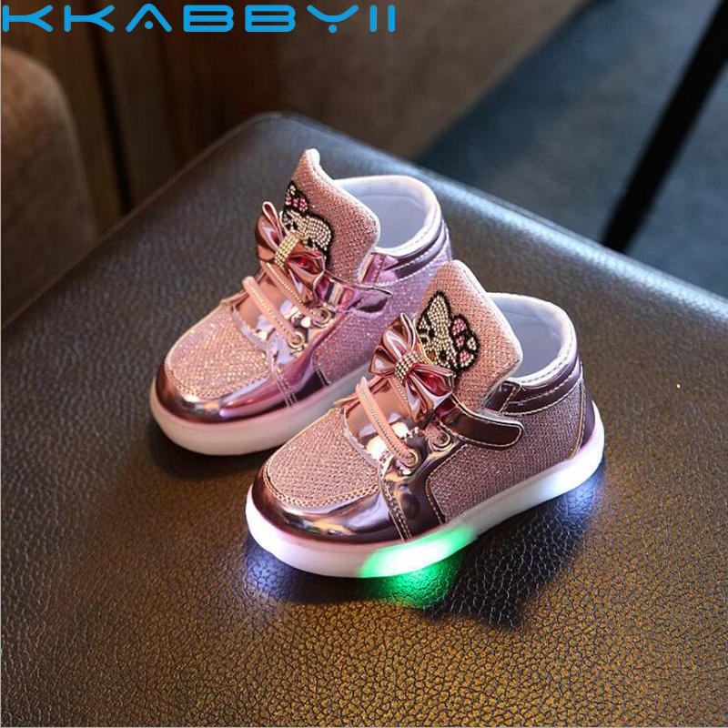 New Spring Autumn Kids Light Shoes for Girls Boys Glowing Sneakers Children Cartoon Led Sneakers Soft Sports Light Shoes
