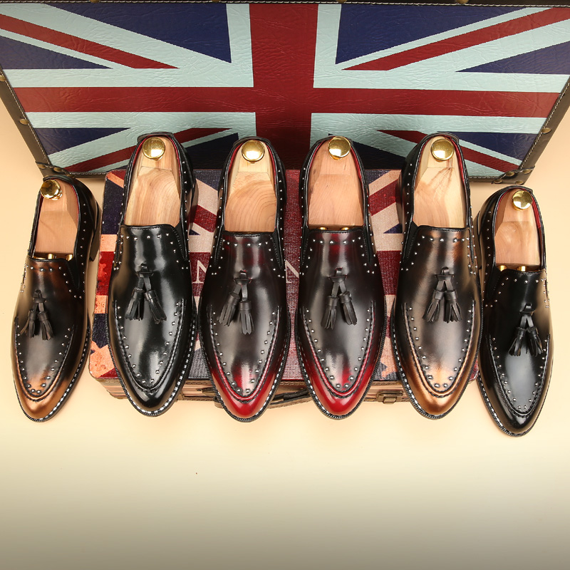 10710e040e WolfWho Men Loafers Leather Men Rivets Dress Shoes Zapatillas Zapatos  Hombre Sapatos Homens Driving Mocassin Wedding Party Shoes