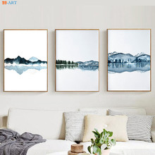 Watercolor Abstract Landscape Canvas Painting Posters and Prints Navy Blue Wall Art Pictures for Living Room Decorative
