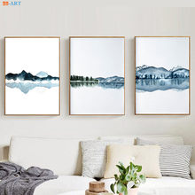Watercolor Abstract Landscape Canvas Painting Posters and Prints Navy Blue Wall Art Wall Pictures for Living Room Decorative(China)