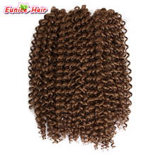 Cheap Short Jerry Curl Crochet Bulk Hair Extnesion Synthetic Brazilian Hair Wave Bundles Crochet Braiding Ombre Deep Weave Hair(China)