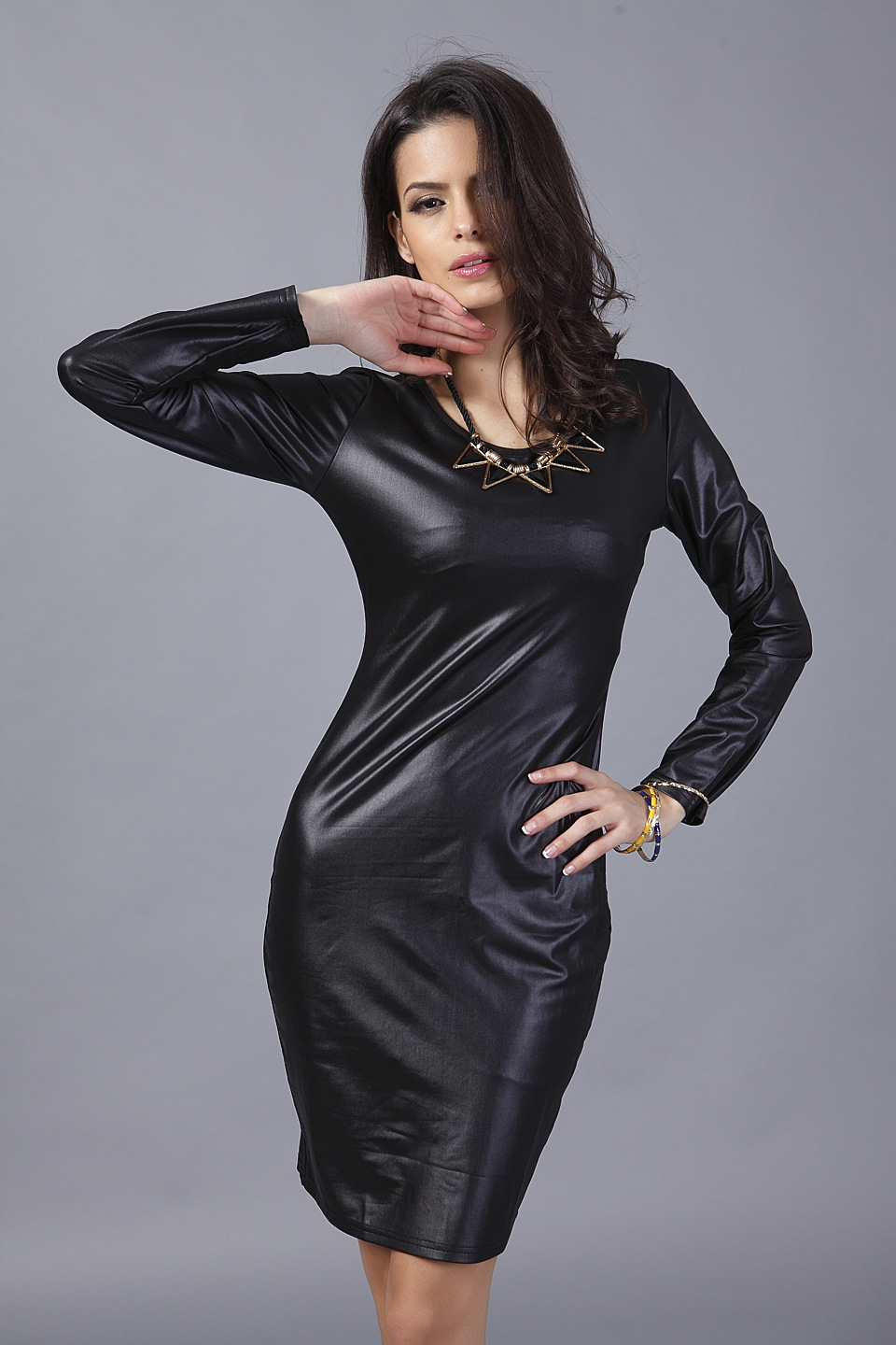 2743ccb94e9 Summer Dress 2017 New Arrival Woman Fashion Thin Faux Leather Dress Long  Sleeve Above Knee Mini Sexy Black Bodycon Women Dresses-in Dresses from  Women s ...