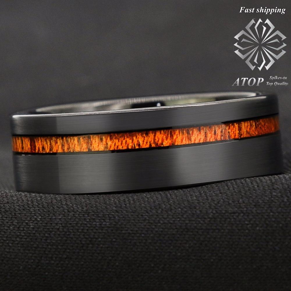 8mm Black Brushed Tungsten Carbide Ring Off Center Koa Wood Wedding Band Ring