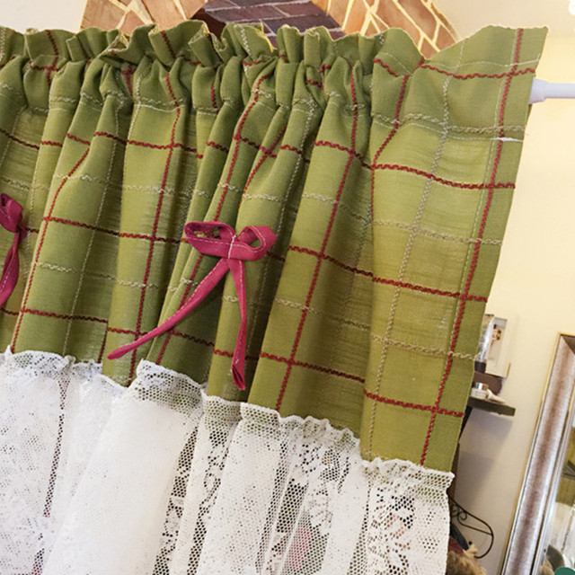 XYZLS Korean Green Plaid Kitchen Curtains With Lace Blinds Cafe Curtain  Short Door Curtain Window Panel