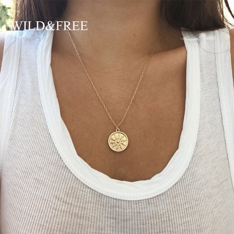 Wild&Free Matte Gold Sun Pendant Necklace For Women Vintage Bohemian Big Round Coin Charm Necklaces Fashion Jewelry Wholesale