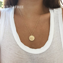 Wild&Free Matte Gold Sun Pendant Necklace For Women Vintage Bohemian Big Round Coin Charm Necklaces Fashion Jewelry Wholesale(China)