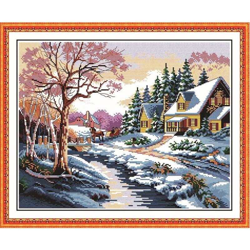 Schneelandschaft 1 DIY kreuzstich Handarbeit 11 & 14CT DMC Kreuzstich Sets Für Stickerei Stricknadeln Handmade Patchwork
