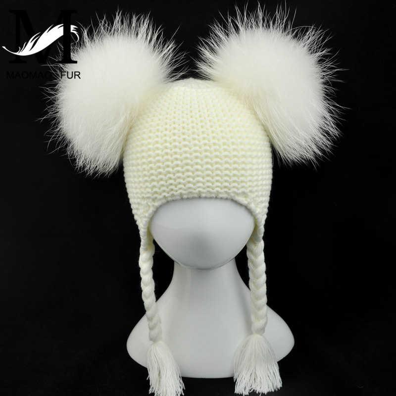 เด็กจริงขน Pom pom หมวกเด็กฤดูหนาวถัก Earflap หมวกเด็กถักหมวกคู่สองจริงขน Pompom หมวกเด็ก