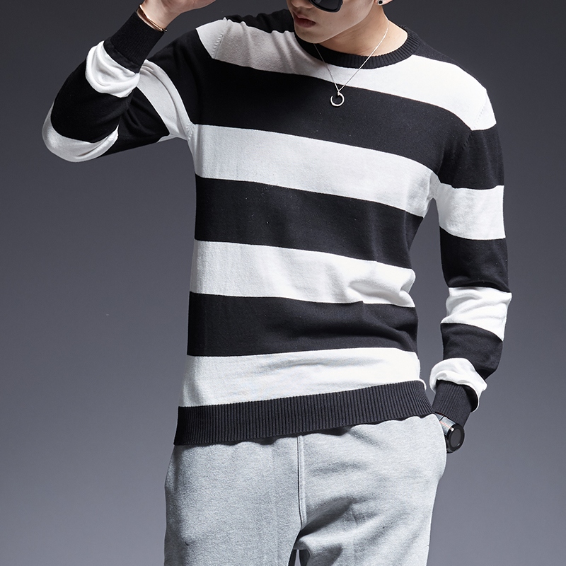 2019 New Fashion Brand Sweater For Mens Pullover Striped Slim Fit Jumpers Knitred O-Neck Winter Korean Style Casual Mens Clothes