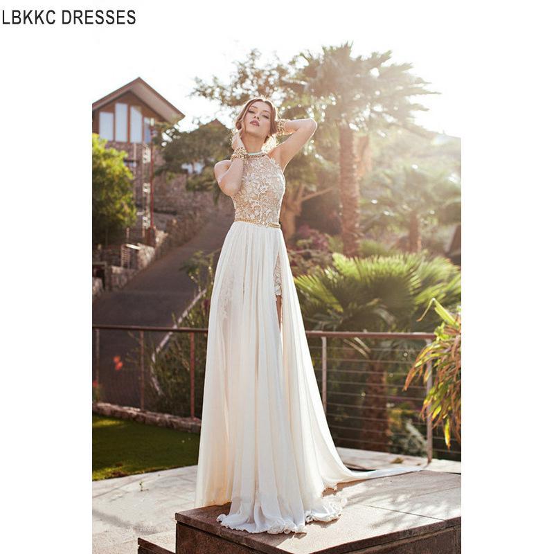 Plage robe de mariée Satin Vintage dentelle robes de mariée Boho Casament pas cher robes de mariée fabriqués en chine robe de mariée plage