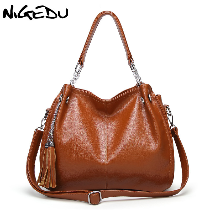 NIGEDU Brand Luxury Women Handbags Designer PU Leather Crossbody Bag Fashion Female Messenger Bags Shoulder Bag Ladies Big Totes