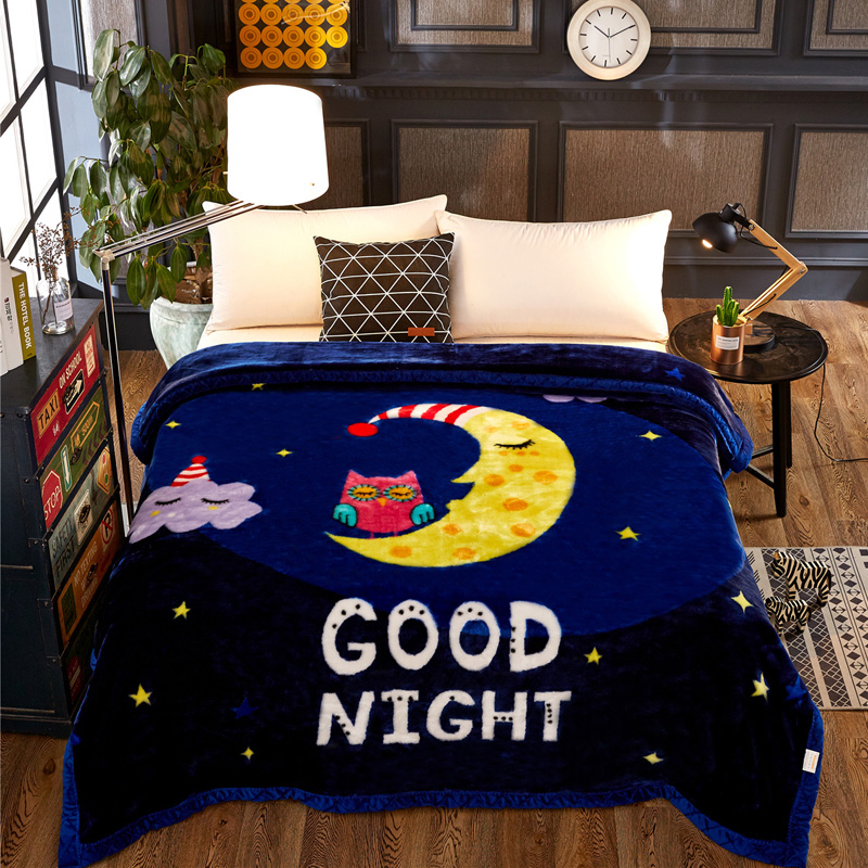 Winter Fashion Cartoon Moon Star Thick Warm Raschel Fur Double Layers Plush Faux Mink Flannel Blanket Throw Twin/Full/Queen Size thick warm double layer flannel plus sherpa man made lamb fur blanket 145x195cm