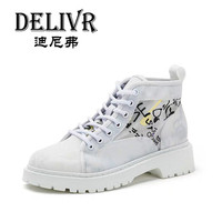 Delivr Womens Martins Boots 2019 New Fashion Ladies Boots Ankle Casual Female Boots High Top Lady Boots Real Leather White Trend