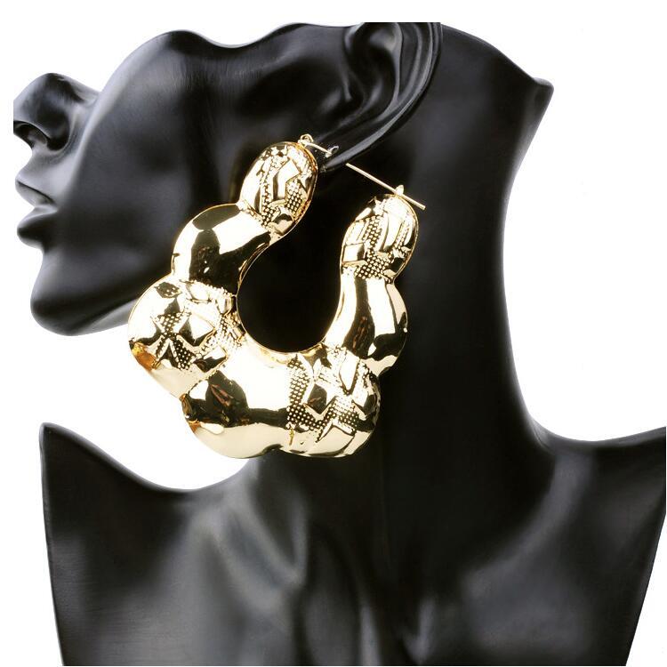Exaggerated Bohemian Big Hoop Earrings for Women Retro Punk Bamboo Basketball Gold iron Earrings Fashion Jewelry ER012