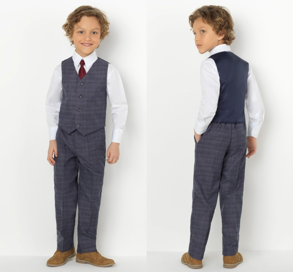 2019 New Arrival Boys' Attire Peaked Lapel Kids Suits Custom Made Clothing Set 2 Pieces Prom Suits (Pants+Tie+Vest) 019