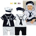Baby boy romper summer sailor style navy white jumpsuit baby boy clothes girl baby sets roupa de bebe menino conjunto infantil
