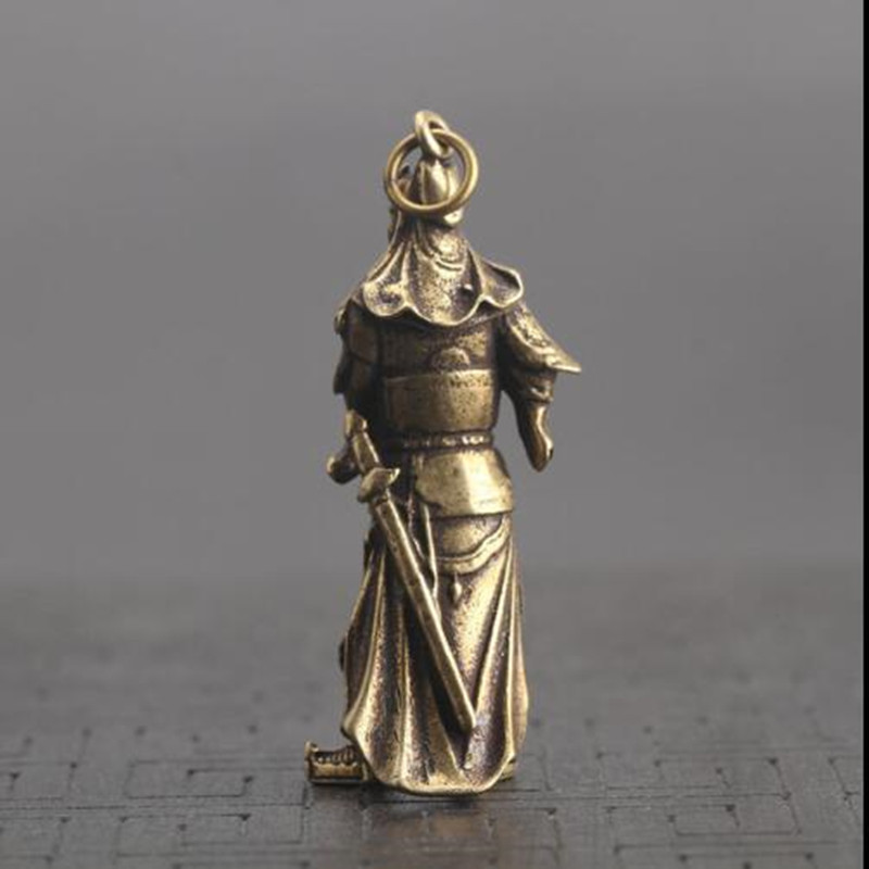 Chinese Old Collection Handwork Retro Creative Brass Kwan kung Statue 1pcs