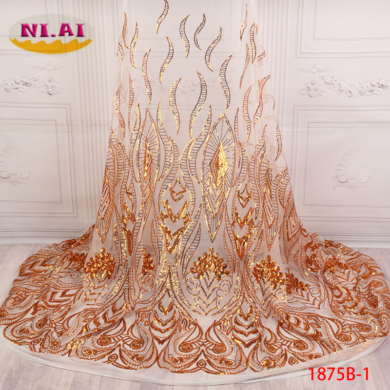 Latest Style African Lace Fabric 2018 High Quality Lace Fashion French Lace Fabric Tulle Nigerian Sequin