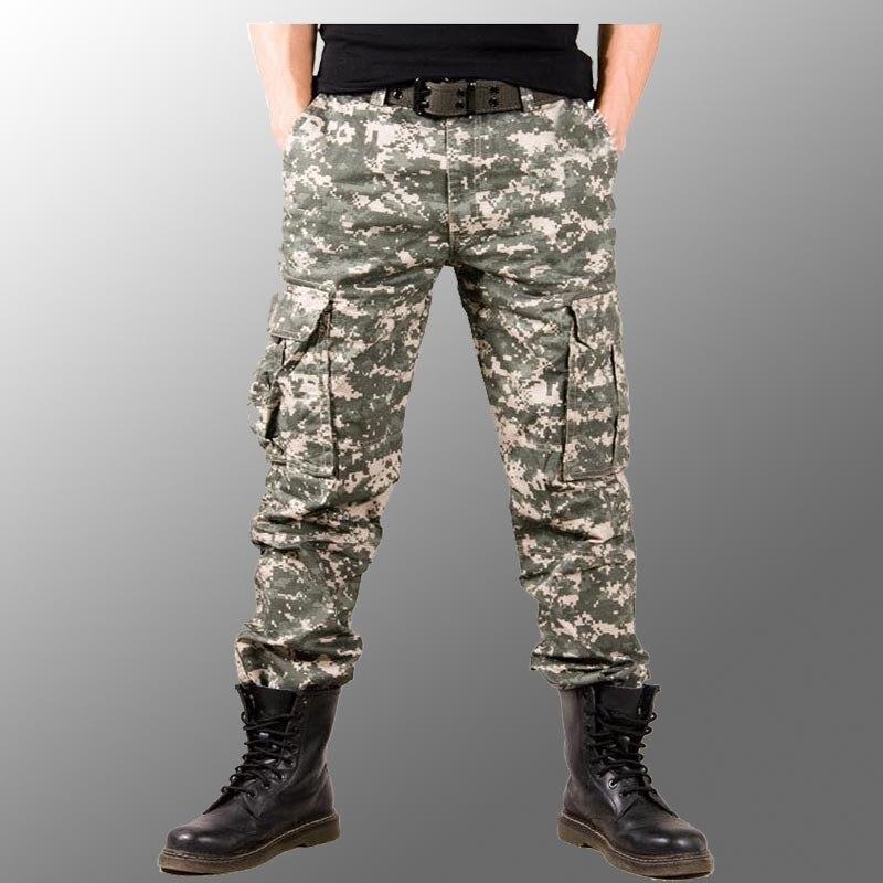 2017 hombre foto Real Outwear hombres pantalones de camuflaje moda Multi bolsillos militar ejército pantalones Joggers Camo Baggy Cargo Pantalones - 4