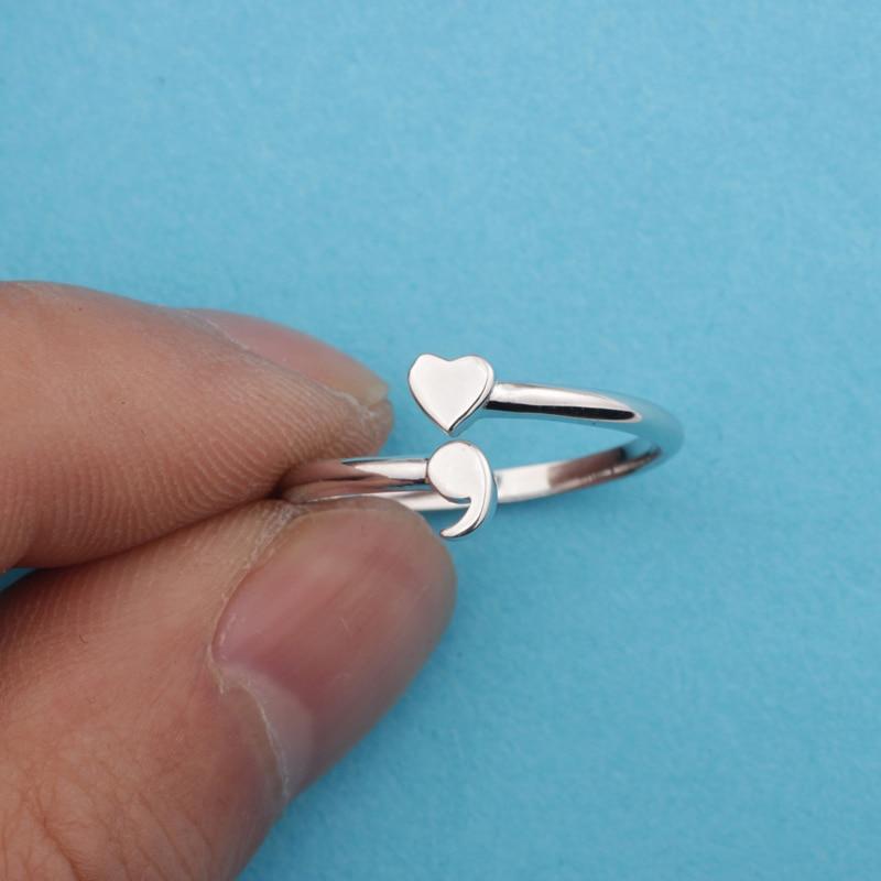 New Semicolon Rings 925 Sterling Silver Rings Hotsale Inspirational Awareness Semi colon Jewelry YLQ2060 2