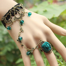 Newest Retro Gothic Women Lace Flower Hand Slave Harness Bracelet Chain Jewelry