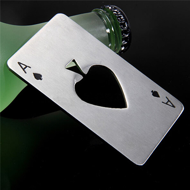 New Stylish Hot Sale Stainless Steel Poker Playing Card of Spades Bar Tool Soda Beer Bottle Cap Opener Gift