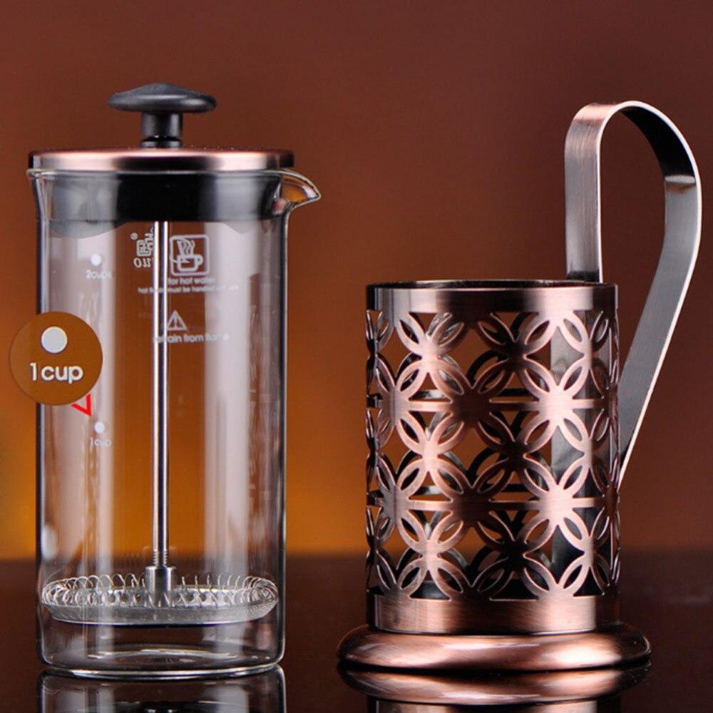 Alloet 600ml Stainless Steel Manual Coffee Maker Vintage French Press Moka Coffee Pot Brewer Teapot Filter Percolator Tool (3)