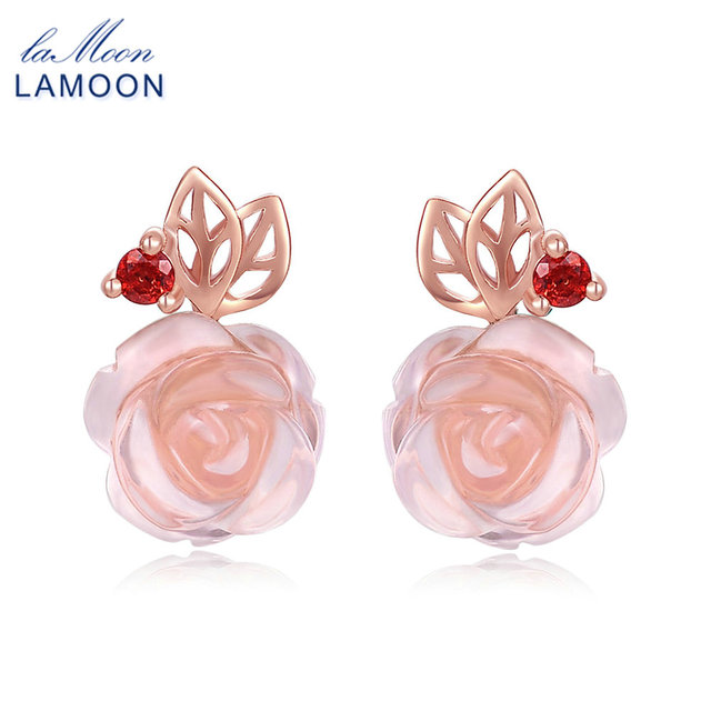 LAMOON 9mm Rose Flower Natural Pink Rose Quartz made with 925 Sterling Silver Jewelry 18K Rose Gold Plated Stud Earrings LMEI015