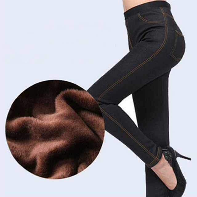 2016 New Faux Jeans Extra Plush Inside Plus Size High Elastic Blue/Black Color Ankle-Length Thick Warm Women Leggings For Winter