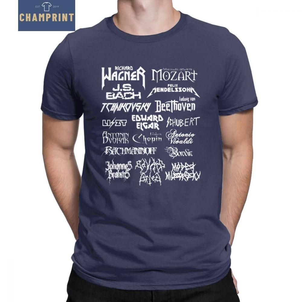 Heavy Metal Classical Composers T-Shirt Men Mozart Beethoven Chopin Bach Mendelssohn Casual Tees 100% Cotton Clothes T Shirt