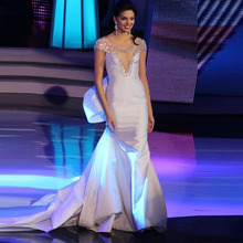 Meerjungfrau Abendkleider abendkleider lang 2016 Scoop Perlen mit Strass Long White Formal Besondere Anlässe Abschlussball-partei-kleider