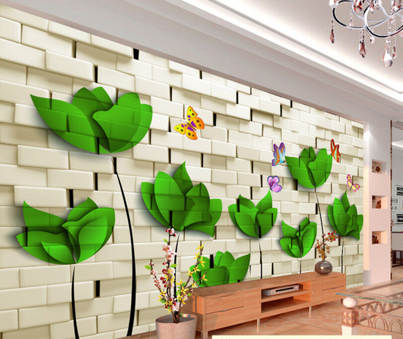 Custom floral wallpaper,Brick wall and flowers,3D stereoscopic wallpaper for living room restaurant bedroom waterproof wallpaper custom baby wallpaper snow white and the seven dwarfs bedroom for the children s room mural backdrop stereoscopic 3d