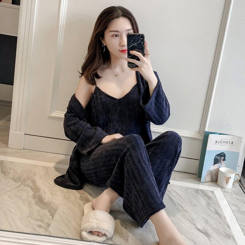 ZuverläSsig 2019 Frühling Nacht Robe Sexy Frauen 2 Pc Band Top Anzug Nachtwäsche Sets Casual Pyjamas Hause Tragen Nachtwäsche Kimono Bad Kleid Unterwäsche & Schlafanzug