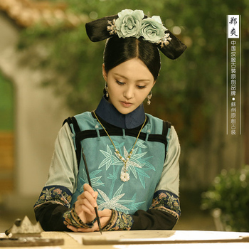 Light GreenBamboo Embroidery Costume 2015 New TV Play Lonely Empty Court of Late Spring Same Design Qing Princess Costume вечернее платье kagehide court aq4533 2015