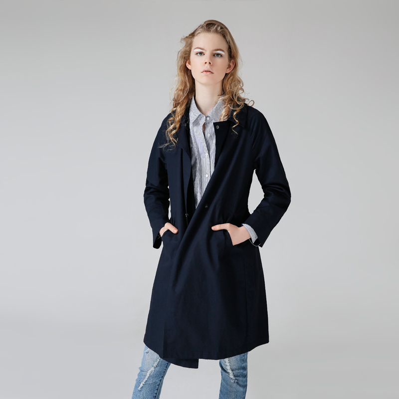 Toyouth British Style Trench Coat Women Casual Solid Windbreaker Long Sleeve Outwear Long Trench Coat