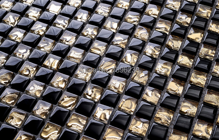 Хрустальные гальванические, стеклянные плитки золотой черный кухня брызги/ванная комната/телевизор/камин фон Талия Декор обои, LSTC011