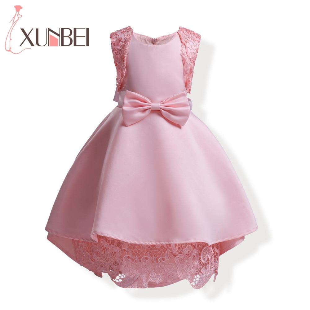 Lovely Pink Lace   Flower     Girl     Dresses   2018 O-Neck High Low First Communion   Dresses   For   Girls   vestido de daminha