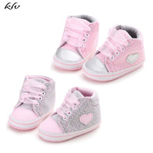 Classic Casual Baby Shoes Toddler Newborn Polka Dots Girls Autumn Lace-Up Sneakers 0-18 Months