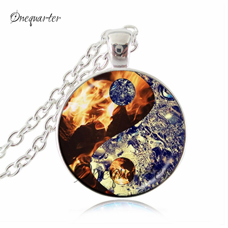 Drop Shipping Ying Yang Pendant Necklace Fire And Water -1937
