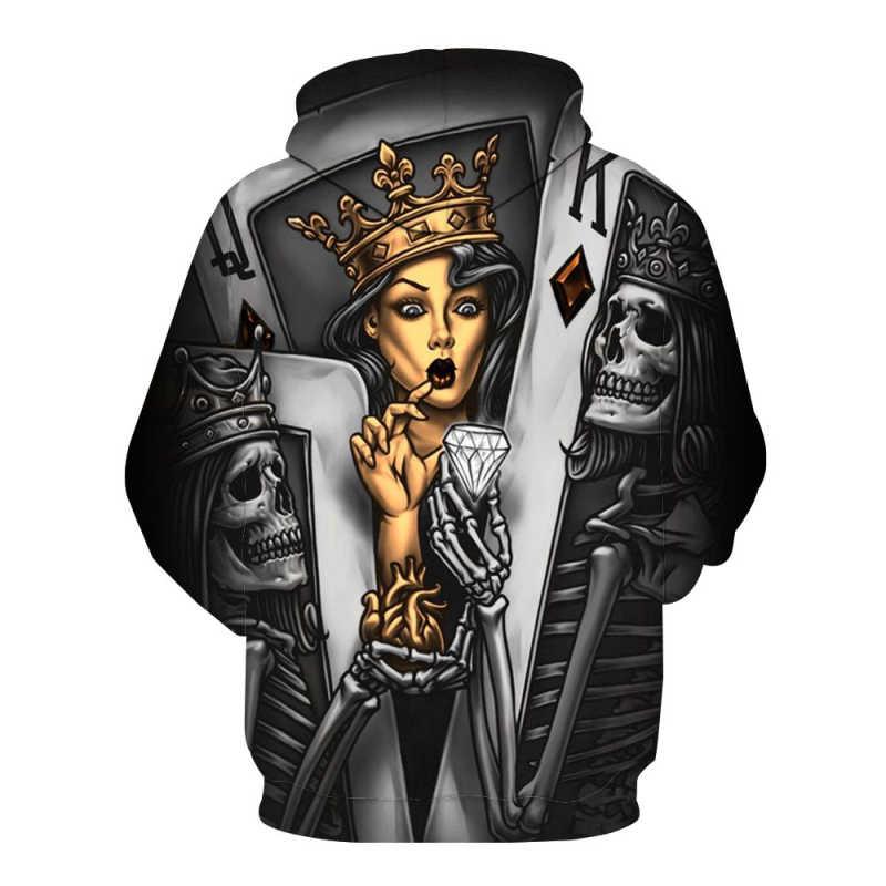 새로운 해골 남자의 두건이있는 운동복 3d 두개골 유행 양면 디자인 젊음 남자와 여자 우연한 풀오버 차가운 남자의 의류