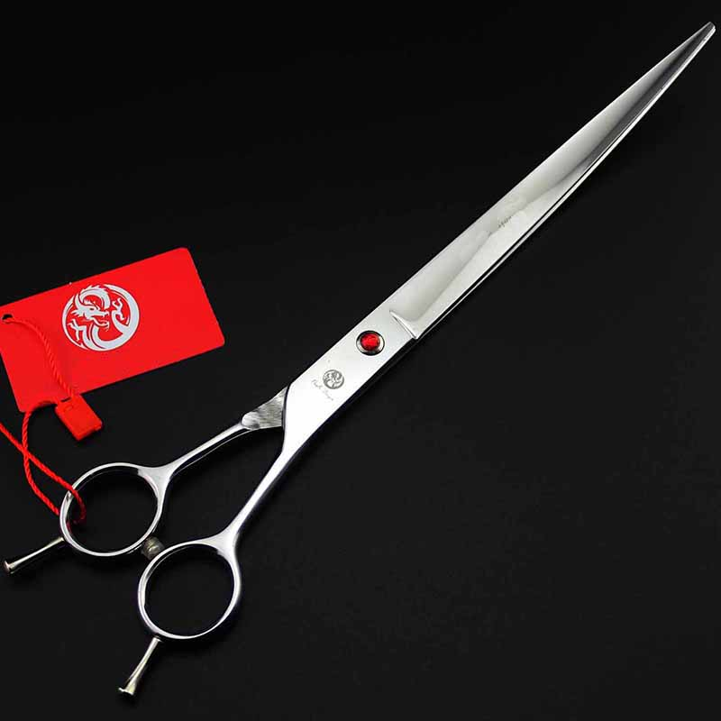 9inch Pet Curved Scissor with Case Double Tail Dog Hairdressing Grooming Tool Shear Clipper High Quality 7 5inch shark curved thinning scissor for dog grooming clipper dog trimmer scissor hairdressing supply shear clipper