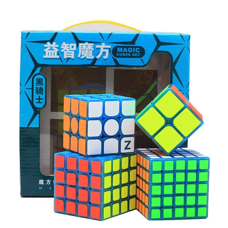 2x2x2 3x3x3 4x4x4 5x5x5 Cube magique Set noir Kight professionnel lisse vitesse Twist Puzzle Cube Noctilucous Cube enfant jouets présents