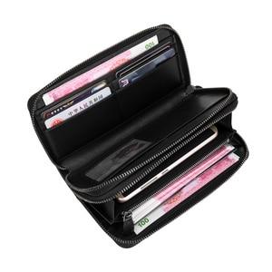 Image 5 - Luxury Soft Bag High Quality Genuine Leather Men Wallets Double Zipper Handbags Long Purse For Men  Passport Cover Card Holder