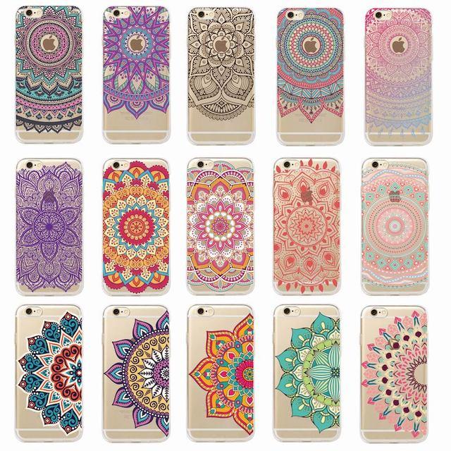 585179d0331 Vintage Hint Çiçek Kına Mandala Yoga Etnik Yumuşak Tpu telefon kılıfı Coque  Fundas Için iPhone 7
