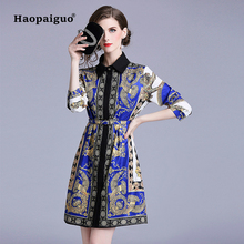 2018 Autumn Vintage Dress Women Turn Down Collar Long Sleeve Loose Casual Dress Women Print Leopard Midi Dress Plus Size Vestido s xxl plus size corset blue knitted sweater dress women turn down collar casual elegant dress women midi long sleeve dresses