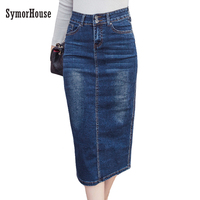 2017 Denim Skirt Vintage Button High Waist Pencil Black Blue Slim Women Skirts Plus Size S