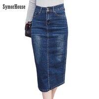 2018 الدنيم تنورة خمر زر عالية الخصر قلم أسود أزرق السيدات مكتب مثير الجينز ضئيلة النساء تنورة زائد حجم s-2xl faldas