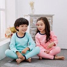 Hiver Enfants solide Pyjamas Ensembles Thermique Chaud de Nuit Pyjamas pour Garçons et Filles Robe Enfants Pyjamas Sous-Vêtements