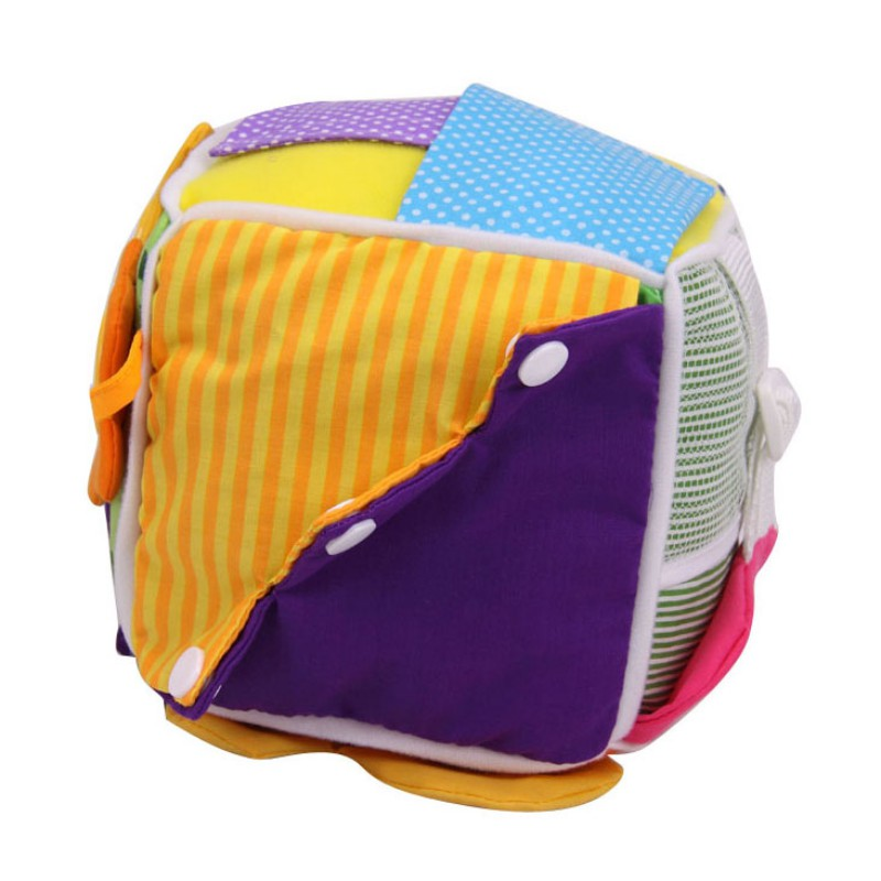 Baby Early Educational Toy Baby Learning Montessori Toy Cloth Learn To Dress Cube Stuffed Rattle Educational Toys